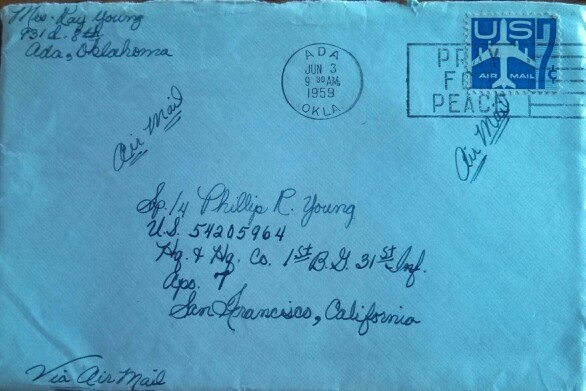 A letter i wrote to ray when he was in korea 58 59 Why do we put stamps on letters