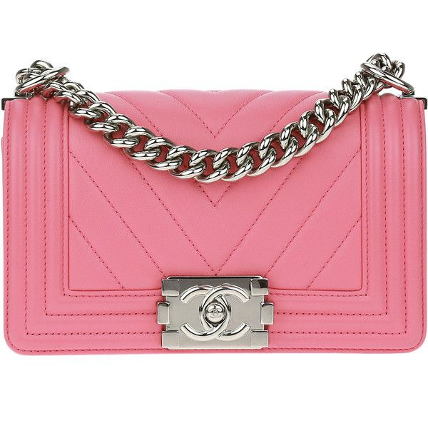 Pre-owned Chanel Pink Lambskin Chevron Small Boy Bag ($4,275) ❤ liked on Polyvore featuring bags, handbags, chanel, chanel handbags, chevron purse, strap purse, pink quilted handbag and flap handbags