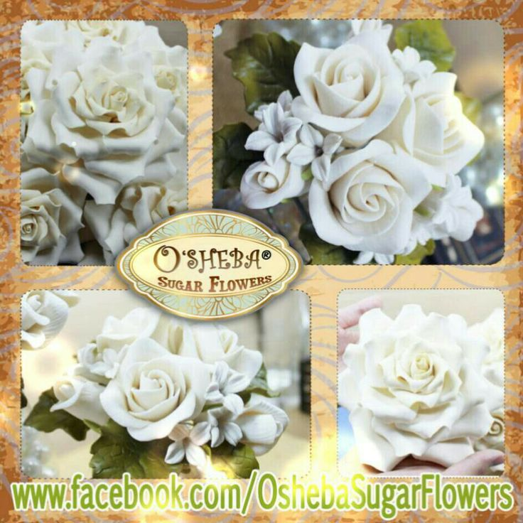 White Roses osheba handmade gumPaste flowers. made from Surabaya-Indonesia visit us at: www.facebook.com/gumpasteoshebaindonesia
