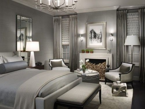 platinum-tone bedroom with faux fireplace
