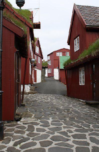 Narrow street in the village of Saksun, Faroe Islands.