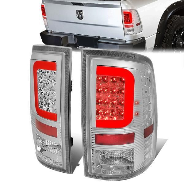 09 17 Dodge Ram 1500 2500 3500 Red C Bar Led Rear Brake Tail Lights Chrome With Images Dodge Ram 1500 Tail Light Led