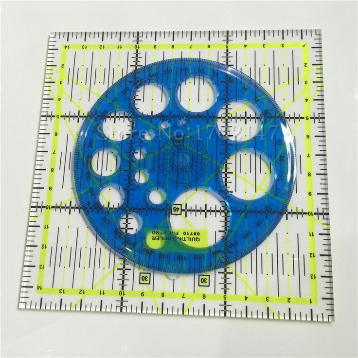 Free Shipping 2pcs Household Hand Sewing Supplies Acrylic Material 15 * 15cm / 11cm Diameter Round Ruler / Patchwork Ruler