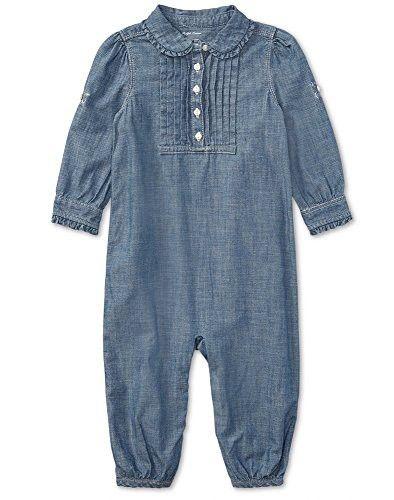 7521a8e7874e Ralph Baby Girls Chambray Cotton Romper