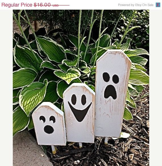 On SALE Now: Boo - Halloween Ghostly Trio of Wooden Block Characters