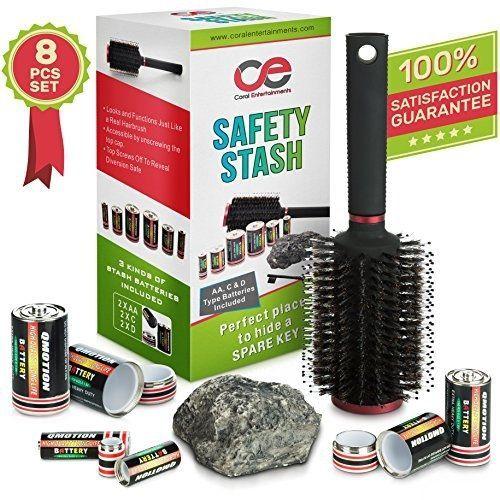 Coral Entertainments Battery Secret Stash, Hairbrush & Rock Diversion Safe Set #CoralEntertainments