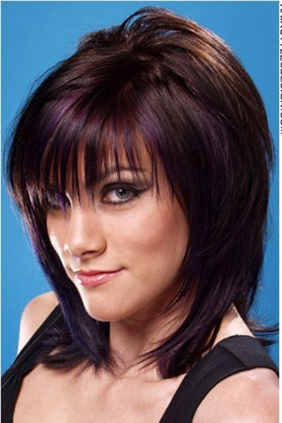 choppy shoulder length haircuts purple and black bob cut with bangs hair style i 3314