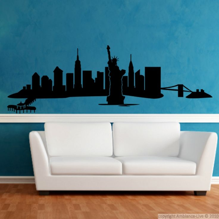 Plus de 25 id es uniques dans la cat gorie stickers new for Decoration murale vue sur new york