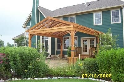 Heavy Timber Gable Truss Pergola Landscaping