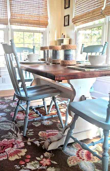 DIY Rustic Farmhouse Trestle Table Makeover /painted farmhouse table/two tone farmhouse table