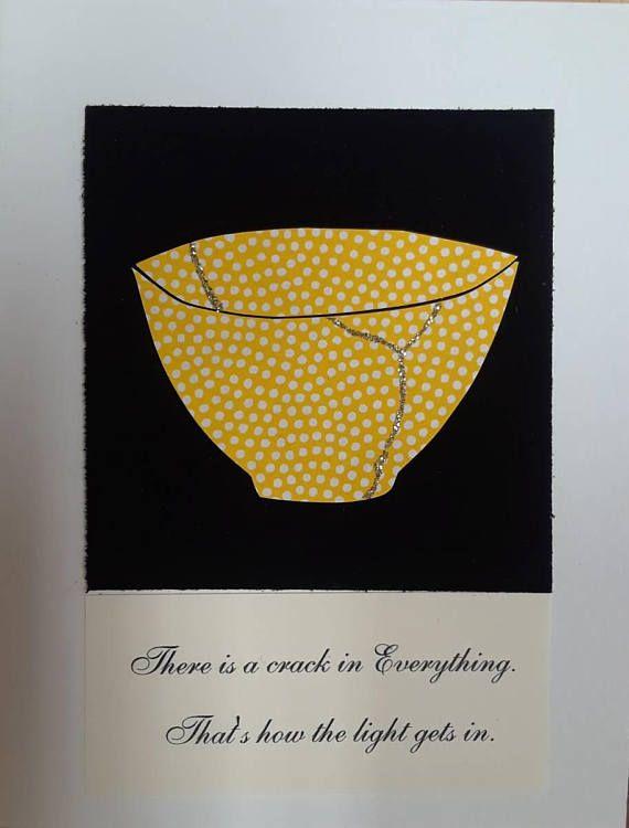 Handcut Velvet Black Paper With Gold Glitter Kintsugi Card Want