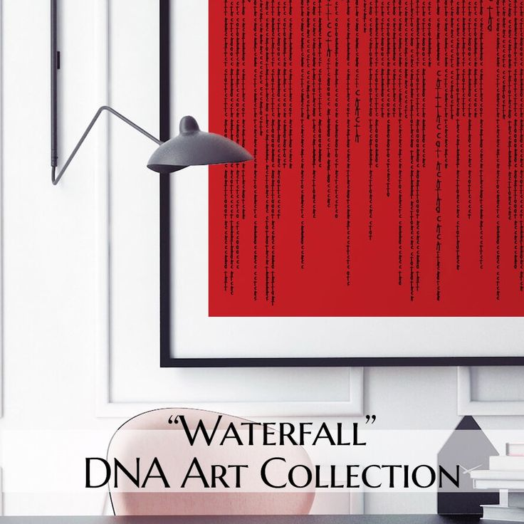"""The GenoArt """"Waterfall"""" collection is inspired by the everlasting story of #life, #love and #living. It captures the ever changing flow of life, with streaming strands of free flowing sequences of your own #DNA code. #genoart #dnaart #waterfall #art #artwork #wallart #artist #homedesign #homedecoration #homedecor #techgift #gift #christmasgift #decorating #gallery #uniquegift #artforsale #apartmenttherapy #homedecor #interiordecor #artgallery #homestyling"""