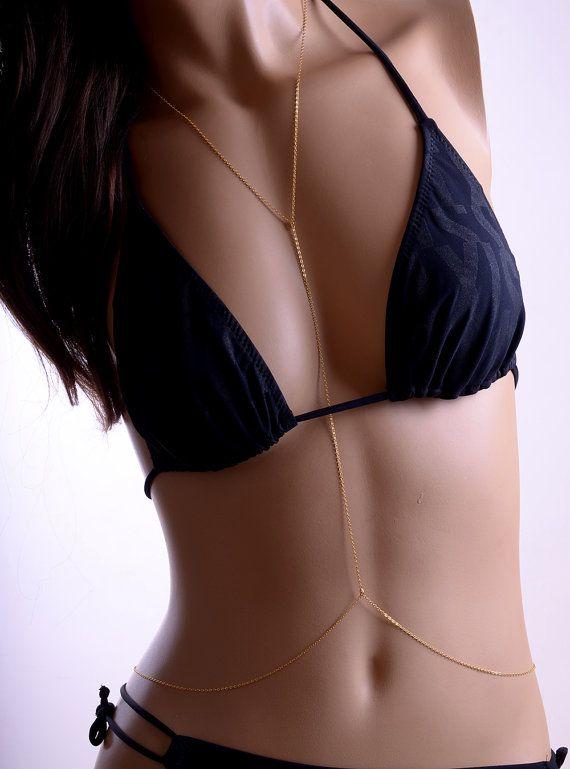 GOTEO diamantes cuerpo cadena collar Bikini por AlessiadeVita
