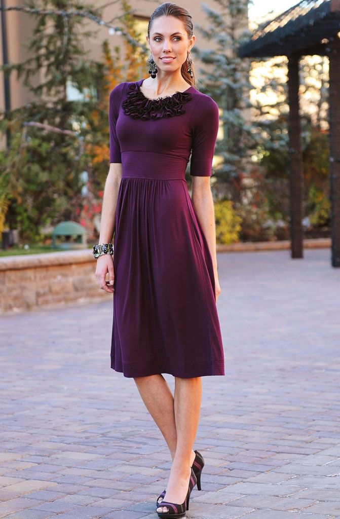 Pretty modest purple dress