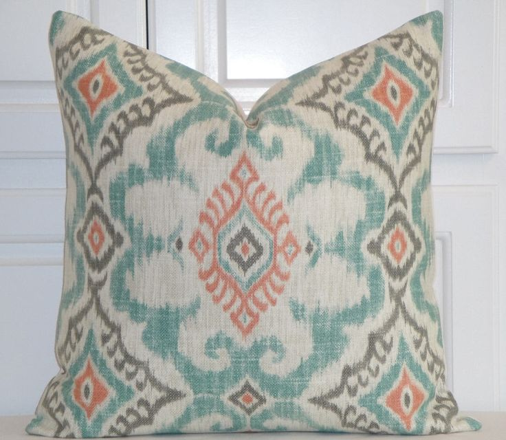 IKAT Decorative Pillow Cover - Aqua Coral Grey Pillow - Accent Pillow - Kilim Pillow - Both Sides Or Front Only - Cushion Pillow Case Cover by TurquoiseTumbleweed on Etsy https://www.etsy.com/listing/512640662/ikat-decorative-pillow-cover-aqua-coral