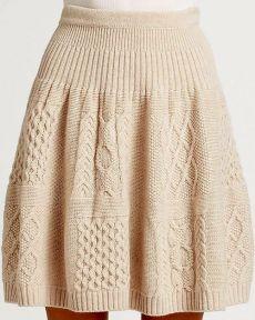 Схема и описание вязания юбки с аранами спицами