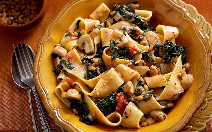 Silverbeet and mushroom pasta - a real goodie this one - nothing to add!