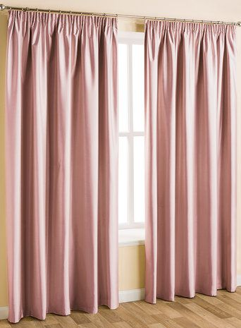 Pink plain faux silk blackout/thermal pencil pleat curtain