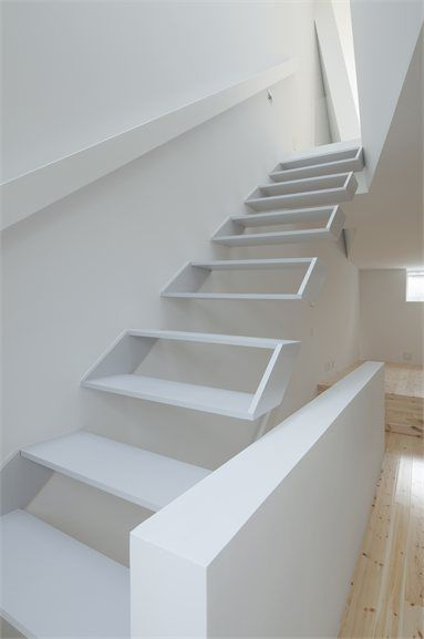 Sensational White Interior Design to Your House: White Mounted Wall Staircase House