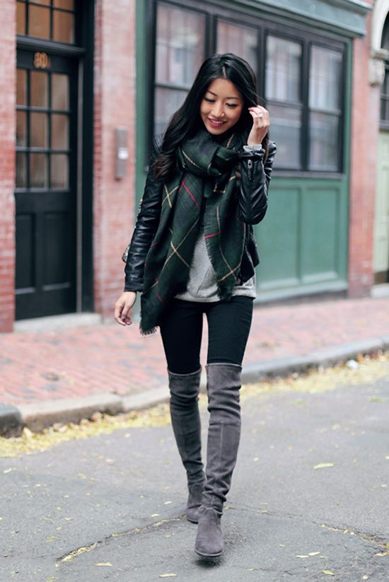 fall / winter - fall outfits - street style - street chic style - casual outfits - black leggings + grey over the knee boots + grey sweater + black leather jacket + green plaid scarf: