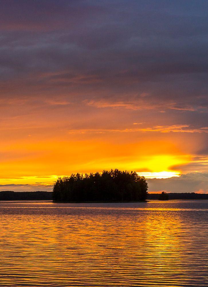 Midsummer night's eve sunset at Punkaharju, Finland