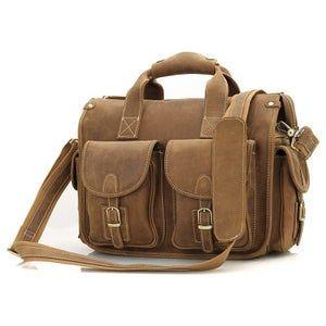 Vintage Handmade Crazy Horse Leather Briefcase / Messenger / 13″ MacBook or 13″ Laptop Bag (n77)