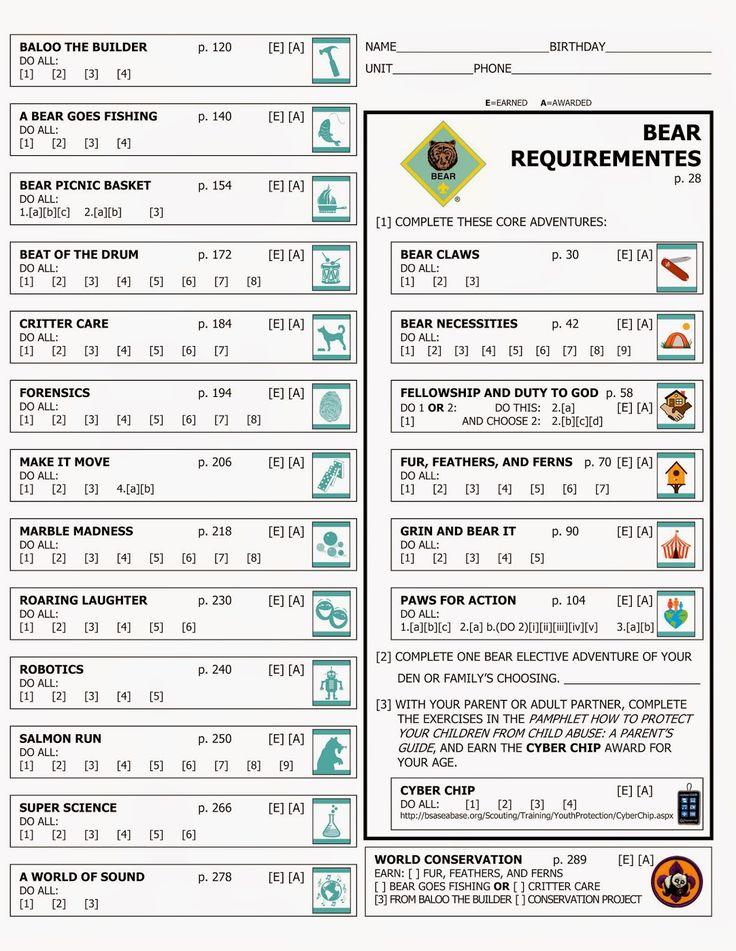 Kara's Cub Stuff: Forms for new cub program Bear rank