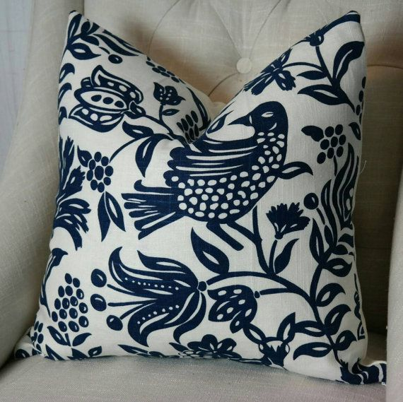 High End Designer Throw Pillows Part - 45: Designer Pillow Cover, Both Or One Sided Pillow Cover, High End Designer  Pillow, Accent Pillow, 03719 Navy Fabricut Pillow