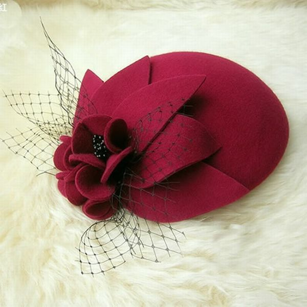 Stylish Designer Red Wool Church Berets hats For Women SKU 158105 I could make this one...