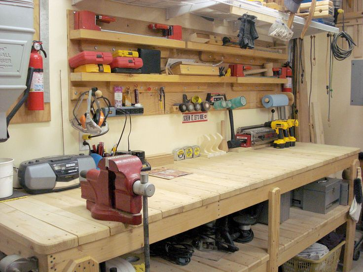 A garage workbench is an essential piece of equipment in any home - home workshop ideas