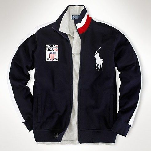 Beauty Ralph Lauren Polo Mens 2033 Fleece Flag Track Jacket USA Polo Jacket