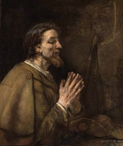 Apostle Saint James the Elder or Lesser by Rembrandt.  Son of Zebedee and Brother of John.  First of the 12 apostles to be martyred for his faith by being beheaded by King Herod Agrippa in 44 CE.  Major shrine is Cathedral of Santiago de Compostella in Spain to which 100,000 pilgrims walk The Way each year.