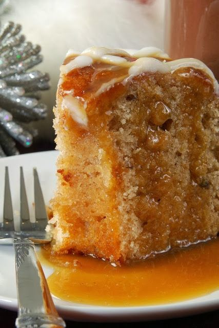 Apple Harvest Pound Cake with Caramel Glaze - so moist and so delicious! It's the perfect fall dessert,,