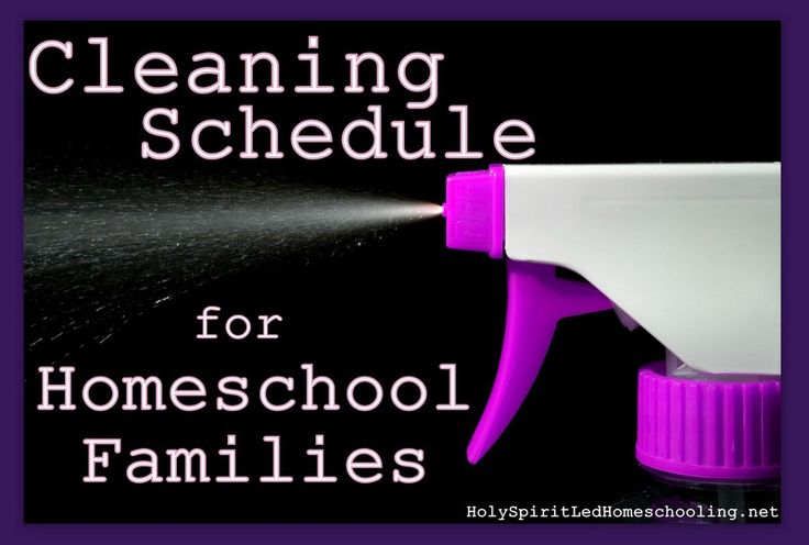 Cleaning Schedule for Homeschool Families.  Downloads, list making helps, and ideas for having a clean house while you homeschool. (HolySpiritLedHomeschooling.net)