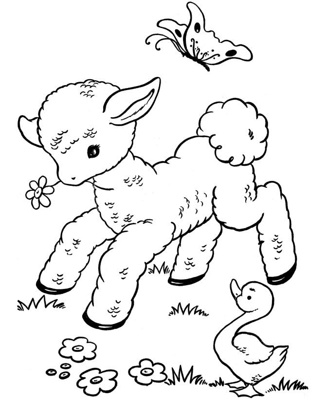 free easter printables easter lamb coloring pages