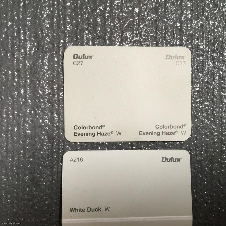choosing exterior colours - colorbond evening haze, Dulux white duck