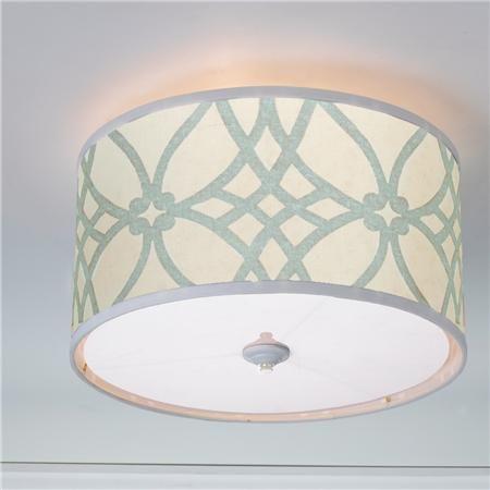 Trellis Linen Drum Shade Ceiling Light