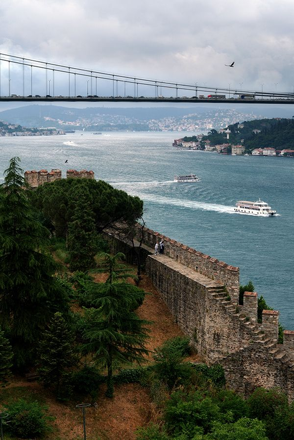 Bosphorus, Istanbul, Turkey Still standing are major fortifications built to protect Constantinople