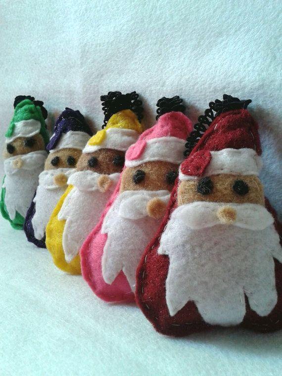 SET 5 Rainbow Santa in felt Christmas Tree Decoration by chiaracat