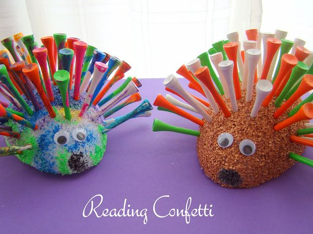 Golf tee porcupines. Easy enough for toddlers to help make...still need a gift for Father's Day?
