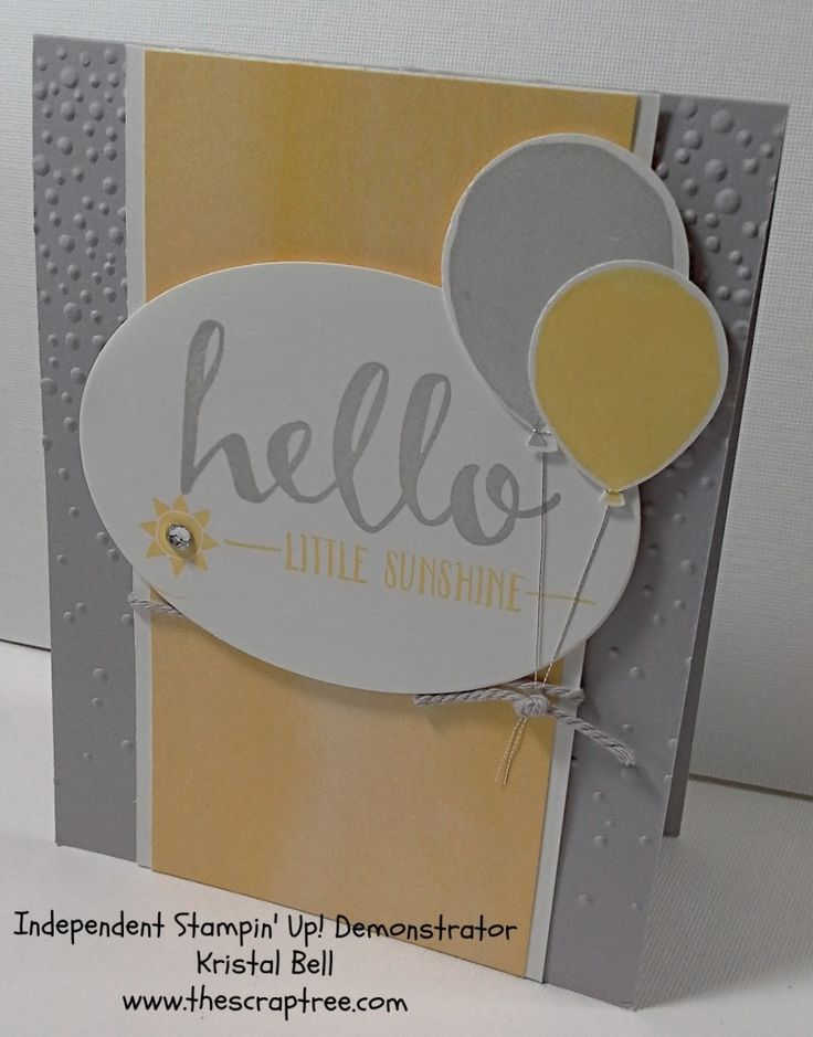 Stampin Up! Sale-A-Bration Hello stamp set  and Balloon Celebration Stamp Set. Birthday Card. See more at The Scrap Tree