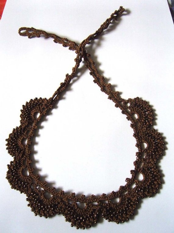 Brown Cotton Crochet Necklace Embedded with Shiny Brown Beads