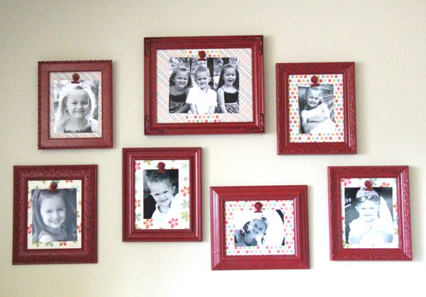Spray paint a cheap frame, scrapbook paper in frame, hot glue a metal clip, change out photos as often as you want :): Photo Walls, Gallery Walls, Galleries Wall, Photos Wall, Picture Walls, Brown Wall, Pictures Frames, Kids Artworks, Pictures Wall