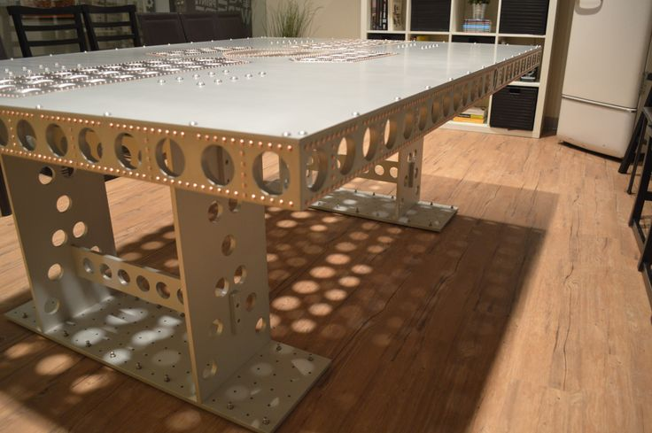 Airplane table with copper rivets