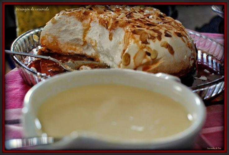 Merengón de caramelo y crema inglesa