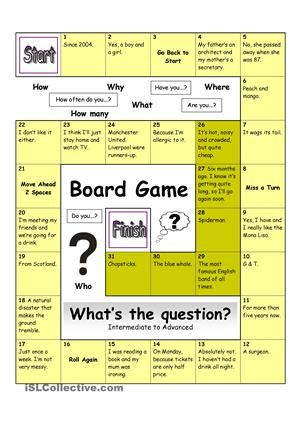 With this board game, students are given the answer and have to find out what the question is. Very useful to revise making correct questions. Students can be put in team or pairs if the game proves too challenging. You could also give extra rewards for creative questions. Suitable for Intermediate to Advanced students. Let´s make learning English fun! - ESL worksheets
