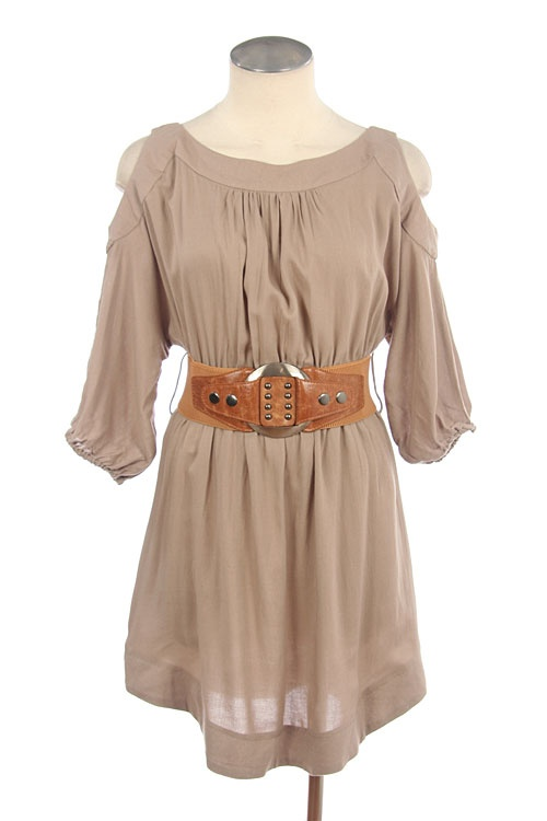 Tan Khaki Peek a Boo Shoulder Belted Dress from www.TheTexasCowgirl.com $34.95