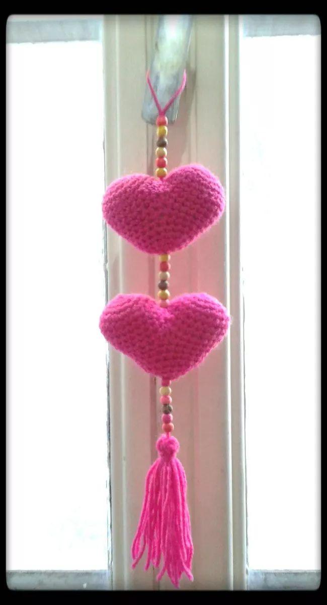 colgante de corazones - corazones tejido al crohet
