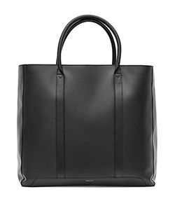 Reiss tote bag, black leather.