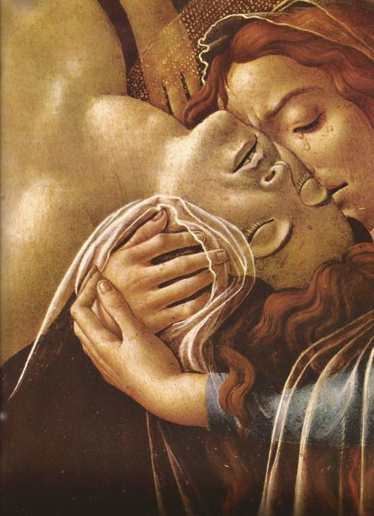 Oh so much passion!!! Sandro Botticelli, Lamentation Over the Dead Christ (detail), 1492
